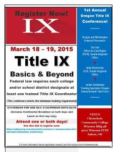 Registration form Title IX conference